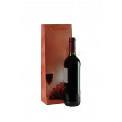 Sac en papier avec poignée de cordon de serrage de couleur corail pour une bouteille de vin 36x13+8,5 cm - 25 unités