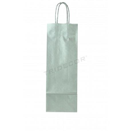 Saco de papel com asa de cordão de cor prata para garrafa de vinho de 36x13+8,5 cm - 25 unidades