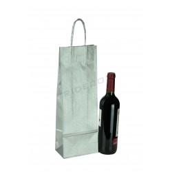Bolsa de papel con asa de cordón color plata para botella de vino de 36x13+8,5cm - 25 unidades
