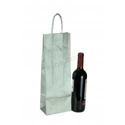 PAPER BAG WITH DRAWSTRING HANDLE SILVER COLOR FOR WINE BOTTLE 36X13+8.5 CM 25 UNITS