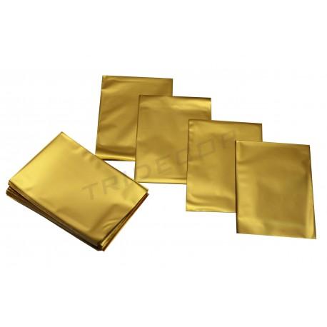Sobre de plástico metalizado oro 15x10cm 100 unidades