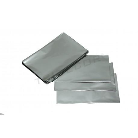 En plàstic plata metàl·lica 25x15cm 100 unitats
