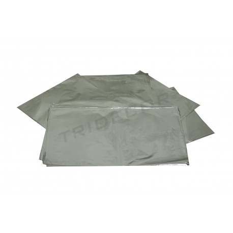 En plástico prata metálica 40x60cm 50 unidades