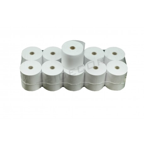 Papel térmico 70x65x12 mm, 10 rollos por paquete, tridecor
