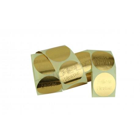 Etiqueta adhesiva, Felices Fiestas, oro. 250 uds., tridecor