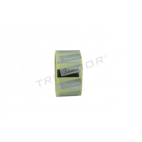 Etiqueta adhesiva, Felicidades, plata fondo brillo. 500 uds. tridecor