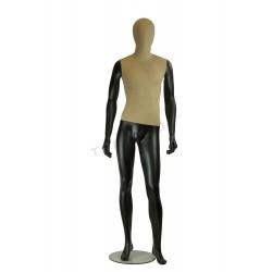 Maniquí de hombre tela y fibra de vídrio color negro mate.