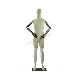 Maniqui homem branco brilho com tecido, braços articulados, tridecor