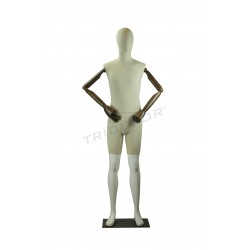 Maniqui hombre blanco brillo con tela, brazos articulados, tridecor
