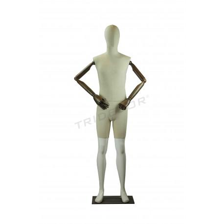 Maniqui home branco brillo con tecido, brazos articulados, tridecor