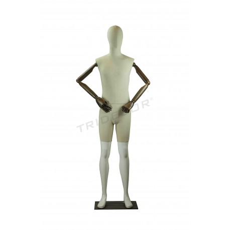 Maniqui white man shine with fabric, articulated arms, tridecor