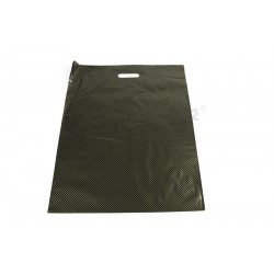 Plastic bags with die cut handle, and reinforced 50x60 cm, color black and golden points.