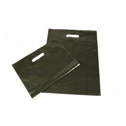 Saco plástico com alça, corte e vinco e reforçada 35x45 cm, cor preta e pontos dourados