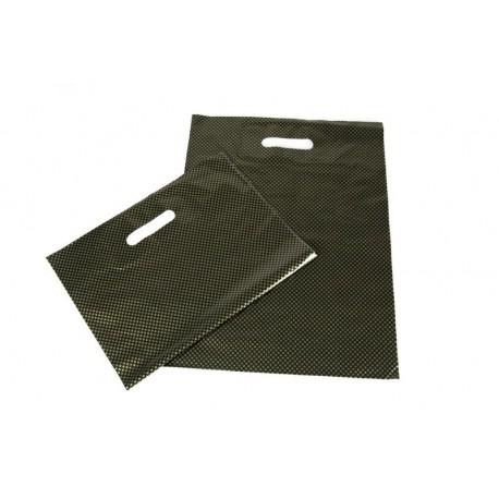 Sacchetto di plastica con la maniglia tagliata, e rinforzato 35x45 cm, colore nero e dorato punti