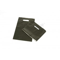 BAGS PLASTIC WITH DIE CUT HANDLE, AND REINFORCED 25X35 CM COLOR BLACK AND GOLDEN POINTS