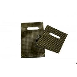 Sacos de plástico com alça, corte e vinco e reforçada de 16x25 cm, cor preta e pontos dourados