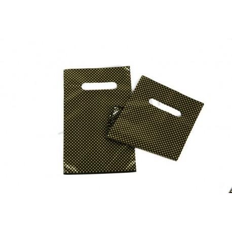 Bolsas de plástico con asa troquelada y reforzada de 16x25 cm, color negro y puntos dorados