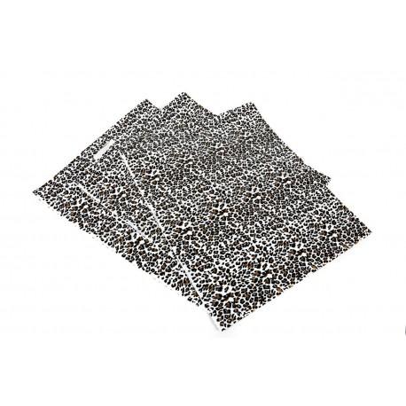 Bolsa de plástico estampado de leopardo con asa troquelada de 35x45 cm. Paquete de 100 unidades