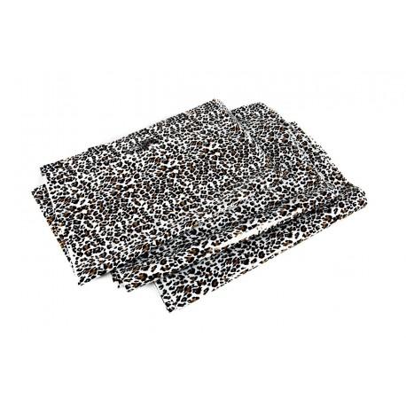 Bossa de plàstic, leopard print amb die tallar mànec de 35x45 cm, Pack de 100 unitats