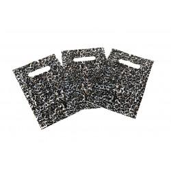 Sacos de plástico estampado leopardo com asa de extrusão 16x25 cm 100 unidades