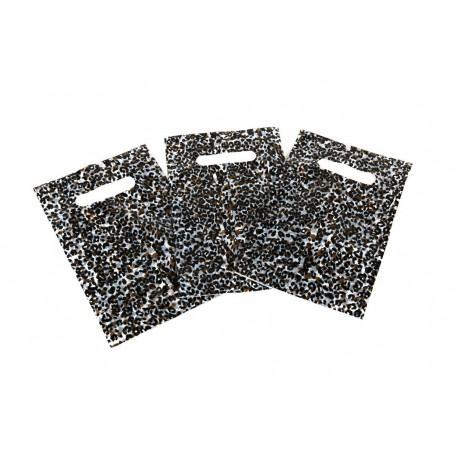 Plastic bags leopard-print with die cut handle 16x25 cm 100 units