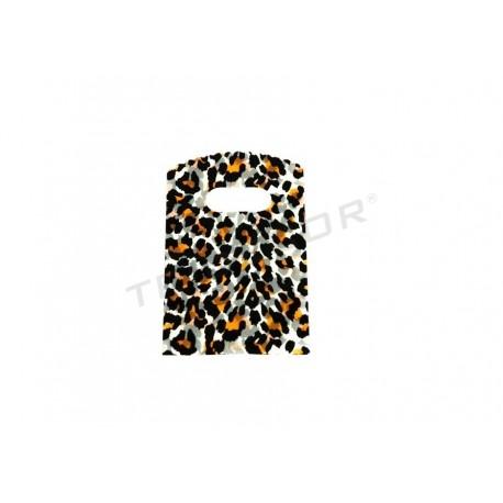 Bolsas de plástico estampado leopardo con asa troquelada 9x15cm. 50 unidades
