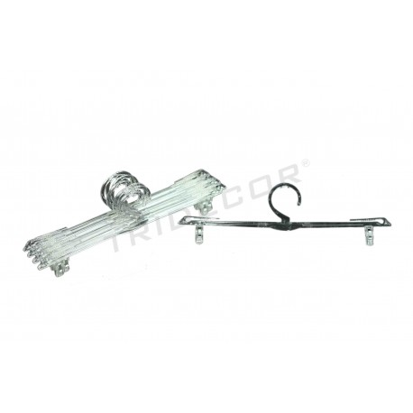 HANGER MADE OF CLEAR PLASTIC WITH CLIPS FOR LINGERIE, 10 UNITS