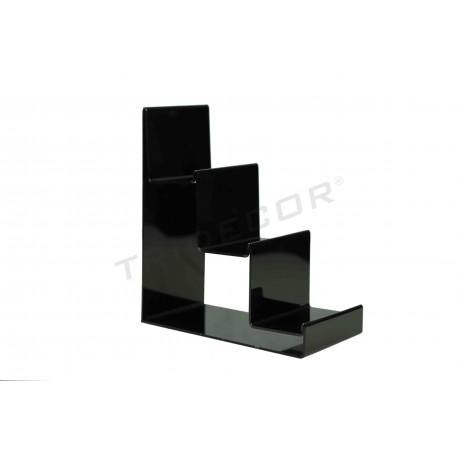 Expositor en escalera, acrílico en negro a tres alturas