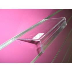 Expositor de acrílico con portaprecio para o panel de lamas 24X13cm