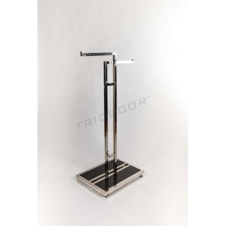Cabideiro de aço com dois braços, base de vidro preto