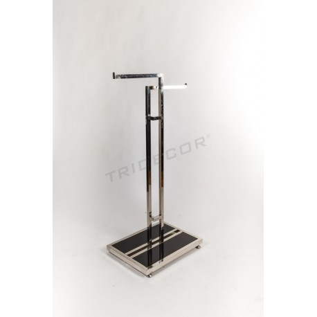 Coat rack made of steel with two arms and a base of black glass