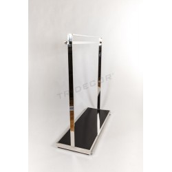 Coat rack with bar and hanger lateral base of black glass