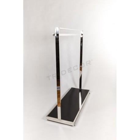 Cabideiro com barra e suporte lateral base de vidro preto
