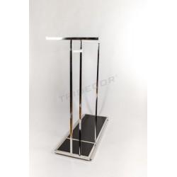 Indumento rack in acciaio a forma di T, vetro nero, tridecor
