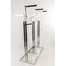 Garment rack steel 6 base arms glass