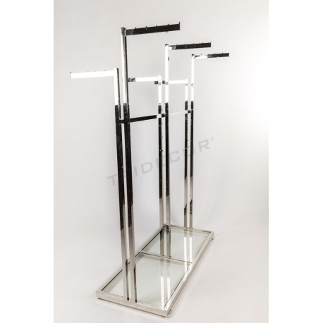 Garment rack steel 6 base arms glass