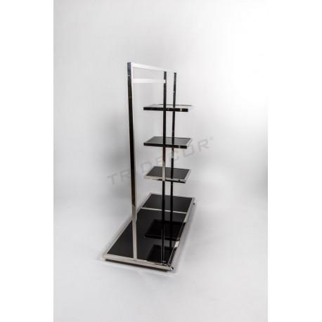 Peça de reixeta d'acer prestatges laterals de vidre negre 136x120x50cm