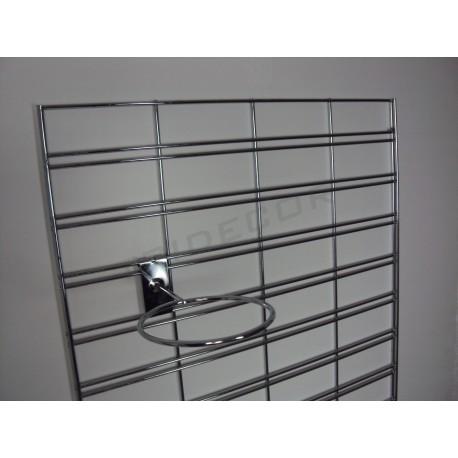 033056 Reja expositora cromada para pared 60x150 cm. Tridecor