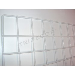033124 Reja expositora blanca para pared 60x150 cm. Tridecor