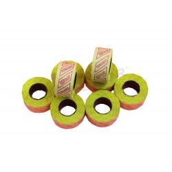 Etiqueta amarilla 1 linea, 26x12 mm. 8 rollos, tridecor