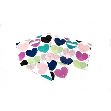 BAG DIE CUT HANDLE HEARTS 35X45CM 100 PCS