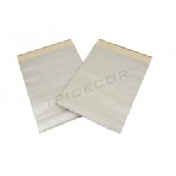 Sobre de papel fuerte plata 39x30+12cm 50 unidades