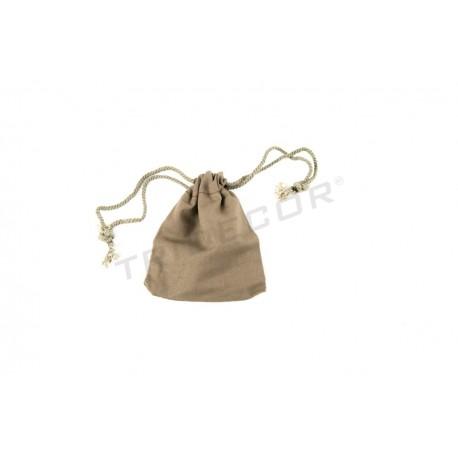 Bolsa de lino color marrón cierre cordón de 11x9.5 cm. Paquete 20 unidades