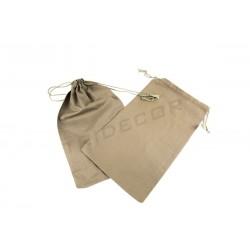亚麻布袋色棕色闭蕾丝35X21厘米-12为单位