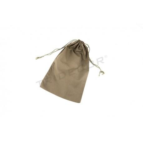 Saco de liño cor marrón peche rendas 35x21cm. Paquete de 12 unidades