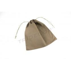 Linen bag closure drawstring color brown 38x44cm. Packages of 12 units
