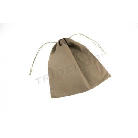 Saco de liño peche cordón de cor marrón 38x44cm. Paquetes de 12 unidades