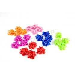 FLOWER FABRIC BOW PINK,BLUE,FUCHSIA,GREEN,ORANGE,RED