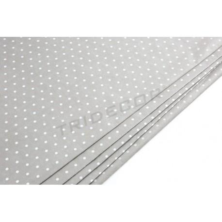 Papel de seda chocolate estampado puntos blancos 86x62cm 100 unidades