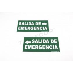CARTEL SALIDA DE EMERGENCIA A LA DERECHA 30X15 CM